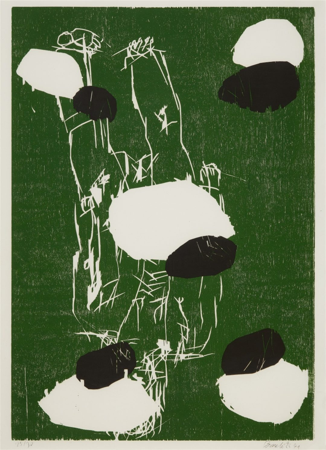 Georg Baselitz-litho /30- Fuenf Steine- Woodcut- 105×77- 1991
