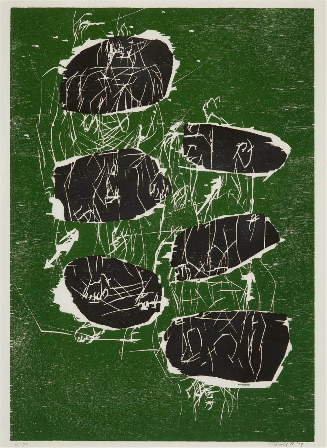 Georg Baselitz-litho /30- Sechs Steine- Woodcut- 105×77- 1991