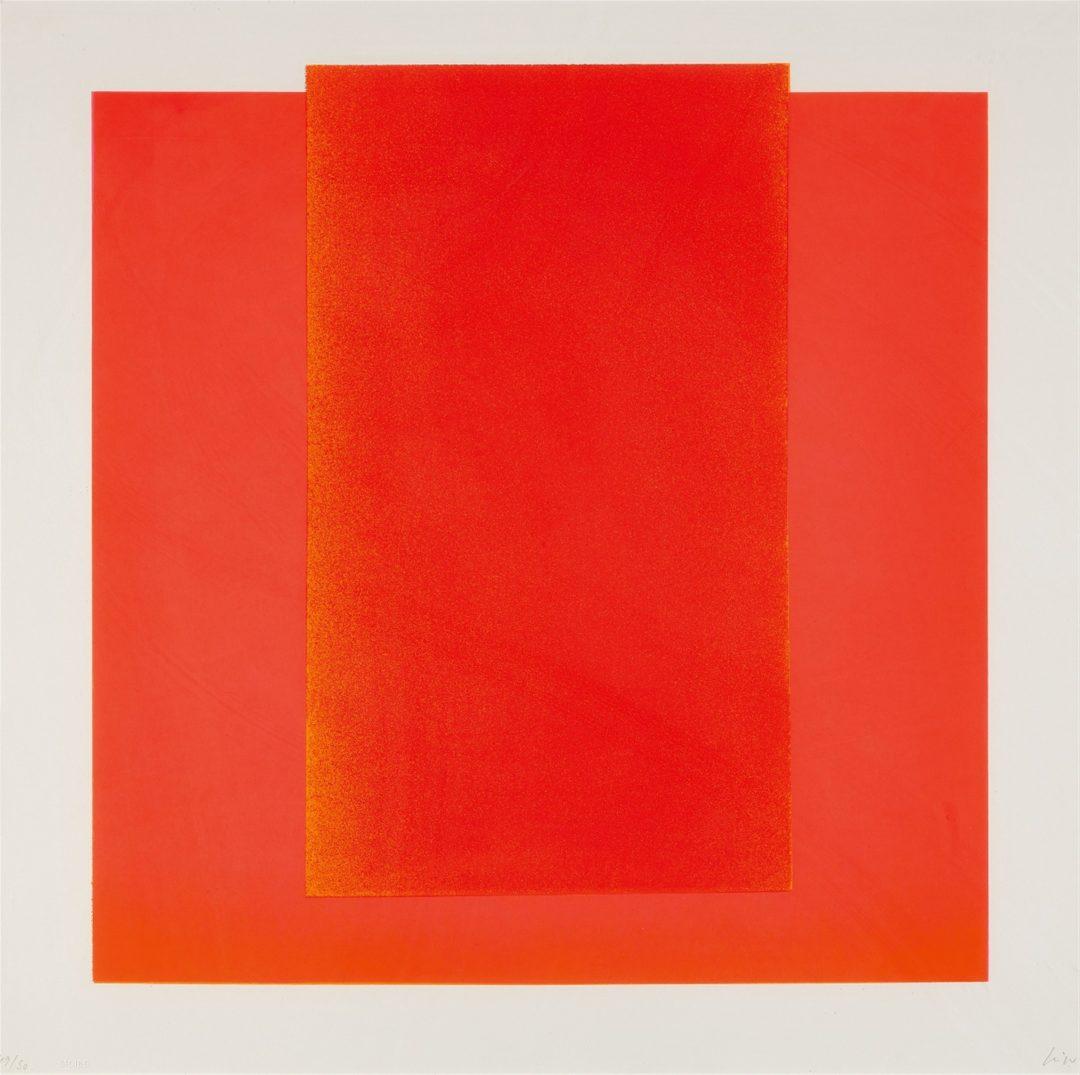 Rupprecht Geiger- litho /50- Rot auf leuchtrot from farbsequenzen 60×60 1966